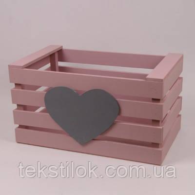 Детский ящик для игрушек пастельно розовый - дерево