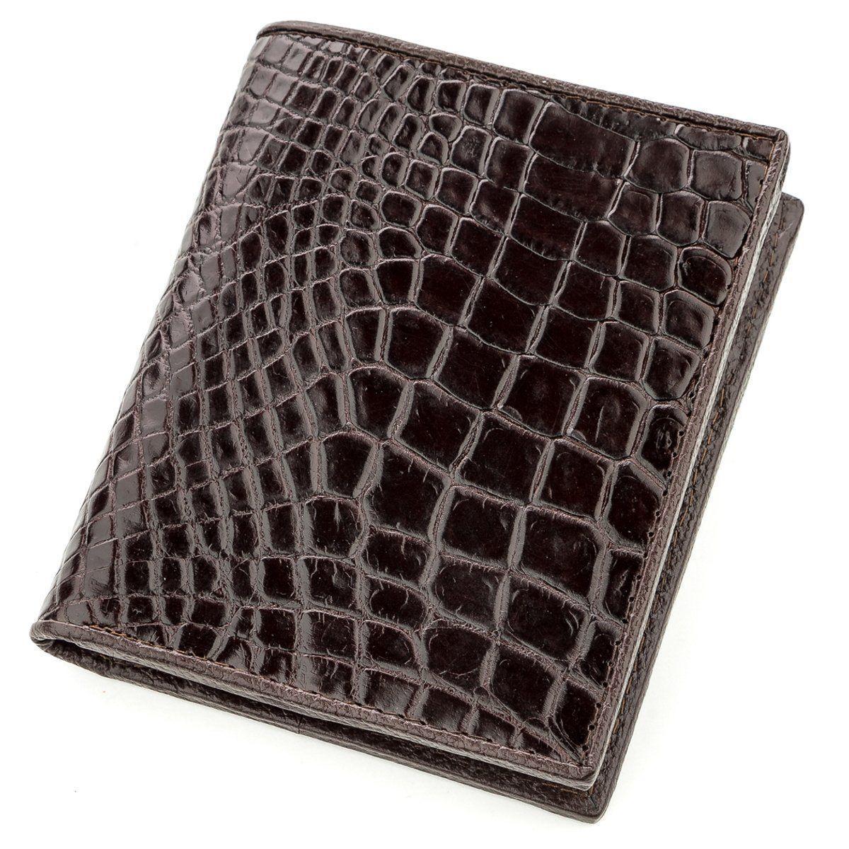 Портмоне Ekzotic Leather из натуральной кожи крокодила Коричневое (cw 113)
