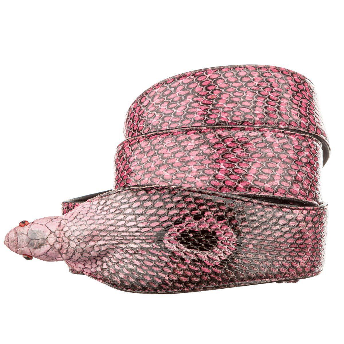 Ремень Ekzotic Leather из натуральной кожи кобры Розовый (snb 20)