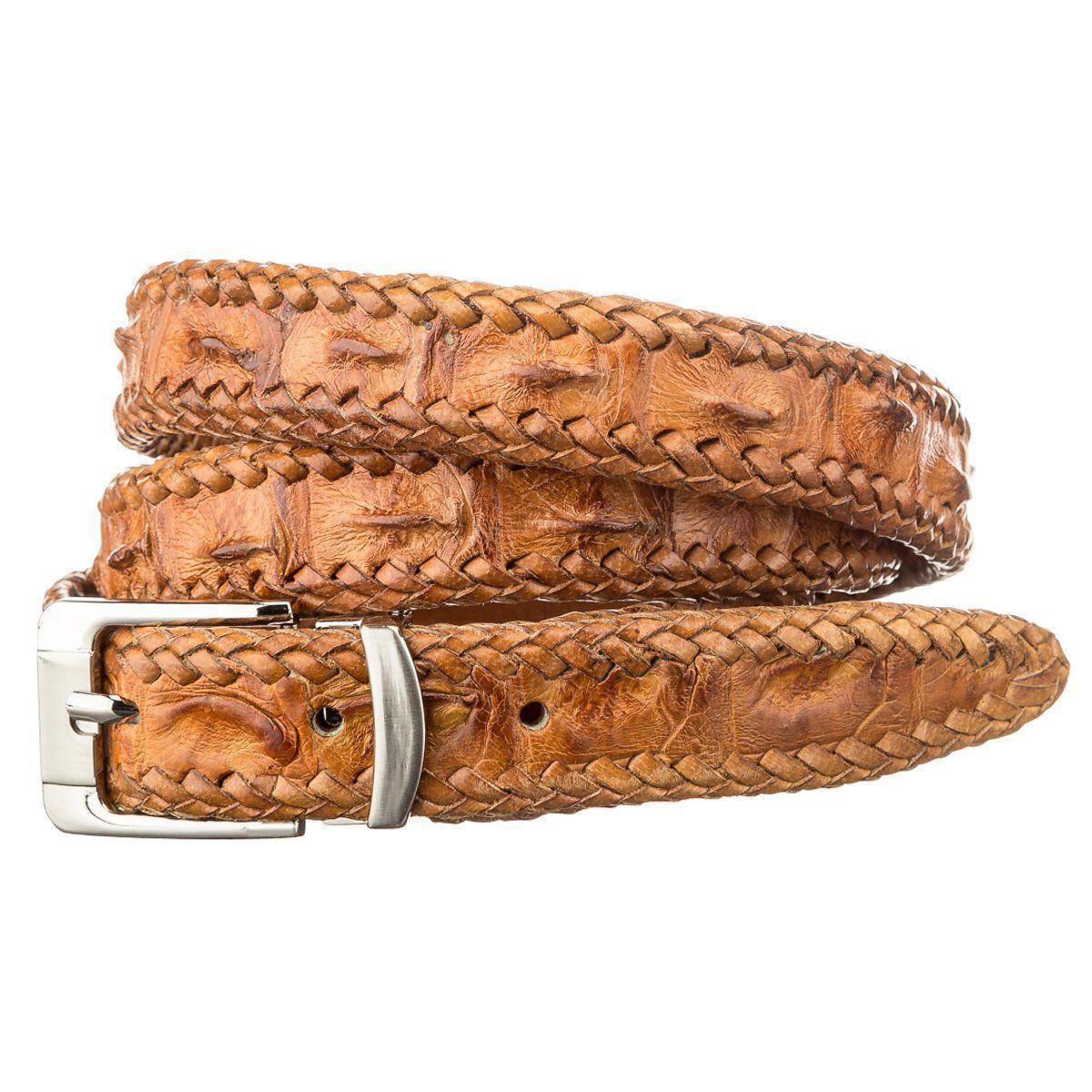 Ремень тонкий Ekzotic Leather из натуральной кожи крокодила Коричневый (crb 29)