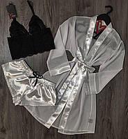 Белый набор одежды для сна и отдыха халат+пижама.