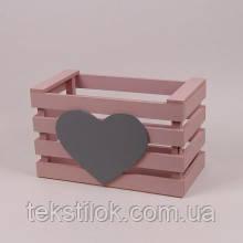 Детский ящик для игрушек пастельно розовый 40 см.- дерево