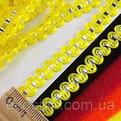 """(25 метров) Тесьма """"Стежок"""" (8мм ширина) с фольгированной лентой Цвет - Жёлтый"""