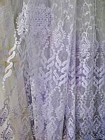 Тюль с вышивкой корд белый Турция
