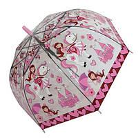 """Детский зонтик-трость """"Принцессы"""" от фирмы """"Paolo Rosi"""", с розовой ручкой, 207-6"""