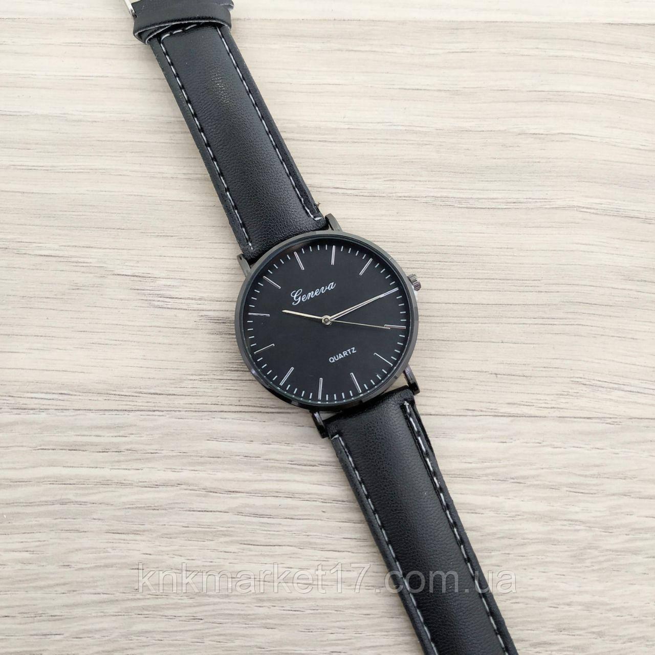 Geneva Black-Black-Silver Leather Roman