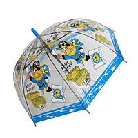 """Детский прозрачный зонтик-трость """"Пираты"""" от фирмы """"Paolo Rosi"""", с голубой ручкой, 207-1"""