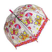"""Детский зонтик-трость """"Бабочки"""" от фирмы """"Paolo Rosi"""", с малиновой ручкой, 207-2"""