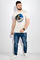 Футболка мужская с надписями 515F055 (Песочный) t-515F055_c1329