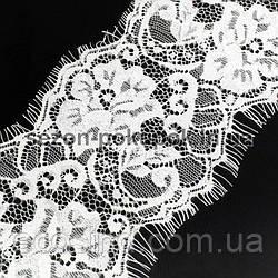 (3 метра) Французское кружево (Шантильи, с ресничками) ширина 11,5см (цена за 3 м). Цвет - белый