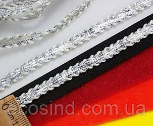 (35 метров) Тесьма шнур (6 мм ширина) с декоративным кантом Цвет - Серебро (сп7нг-0422)