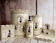 Комплект в ванную Irya - Pretty кремовый (5 предметов)