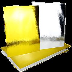 Подложка прямоугольная под торт 30*40см двухслойная Золото/серебро, 5шт