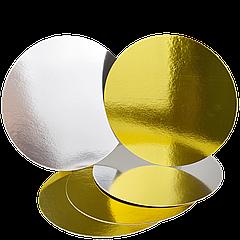 Подложка круглая под торт Ø-23см Золото/серебро, 5шт