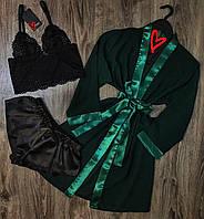 Прозрачный халат+пижама(топ+шорты)-набор женской одежды для сна.