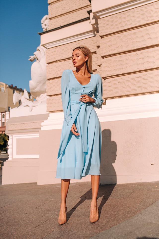 "Платье ""Мадлен"", креп шифон. Размер: S,M,L. Цвет: голубой (1071)"