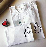 Белые Парные футболки для парня и девушки