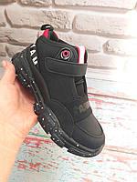 Высокие детские демисезонные кроссовки черные с красным Apawwa