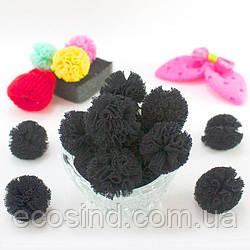 (5шт) Ажурные мини помпоны из мягкой сеточки Ø=2,5см  Цена за упаковку Цвет - Чёрный