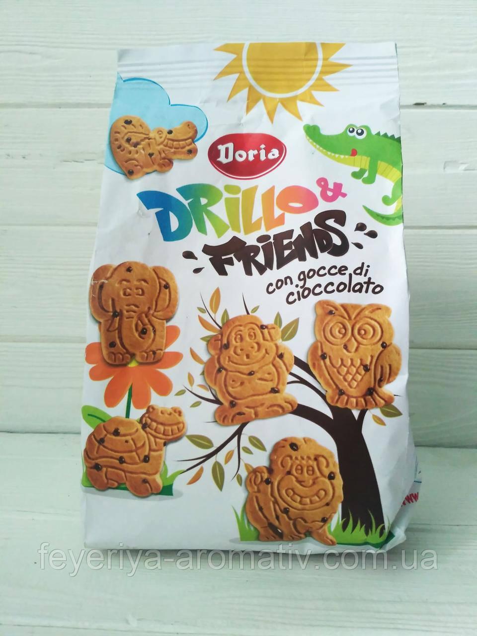 Печенье с шоколадной крошкой зоопарк Doria Drillo & Friennds 350гр (Италия)