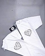 Белые Парные футболки для парня и девушки - Серце !