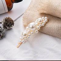 Прикраса для волосся з великим перлами (шпилька золото невидимка) 9 см