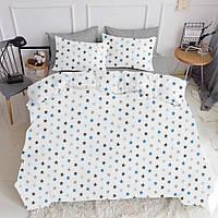 Комплект евро взрослого постельного белья STAR BLUE GREY
