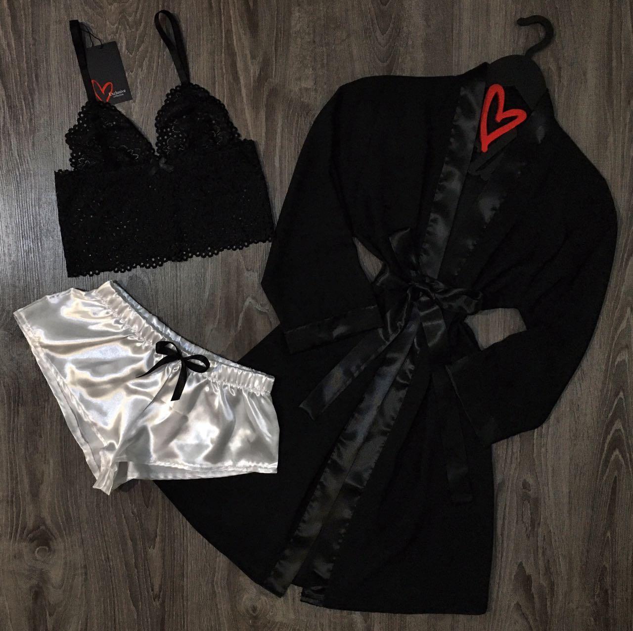 Черный шифоновый халат+пижама(кружевной бюстгальтер и шорты)-набор.