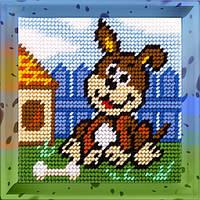 Пёс-барбос. Набор для вышивания нитками на канве 15х15cм., фото 1