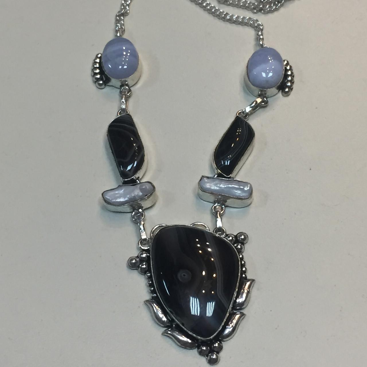 Ботсванский агат жемчуг сапфирин ожерелье с агатом сапфирином жемчугом барочный жемчуг барокко Индия