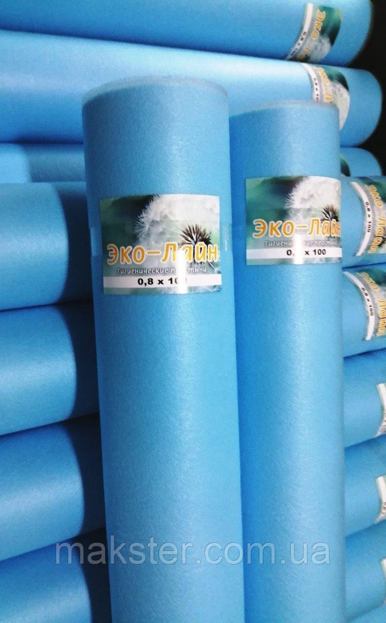 Одноразовые голубые простыни Эко-лайн 0,6х100м