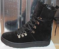 Ботинки черные замшевые женские зимние от производителя модель СА243-3, фото 1