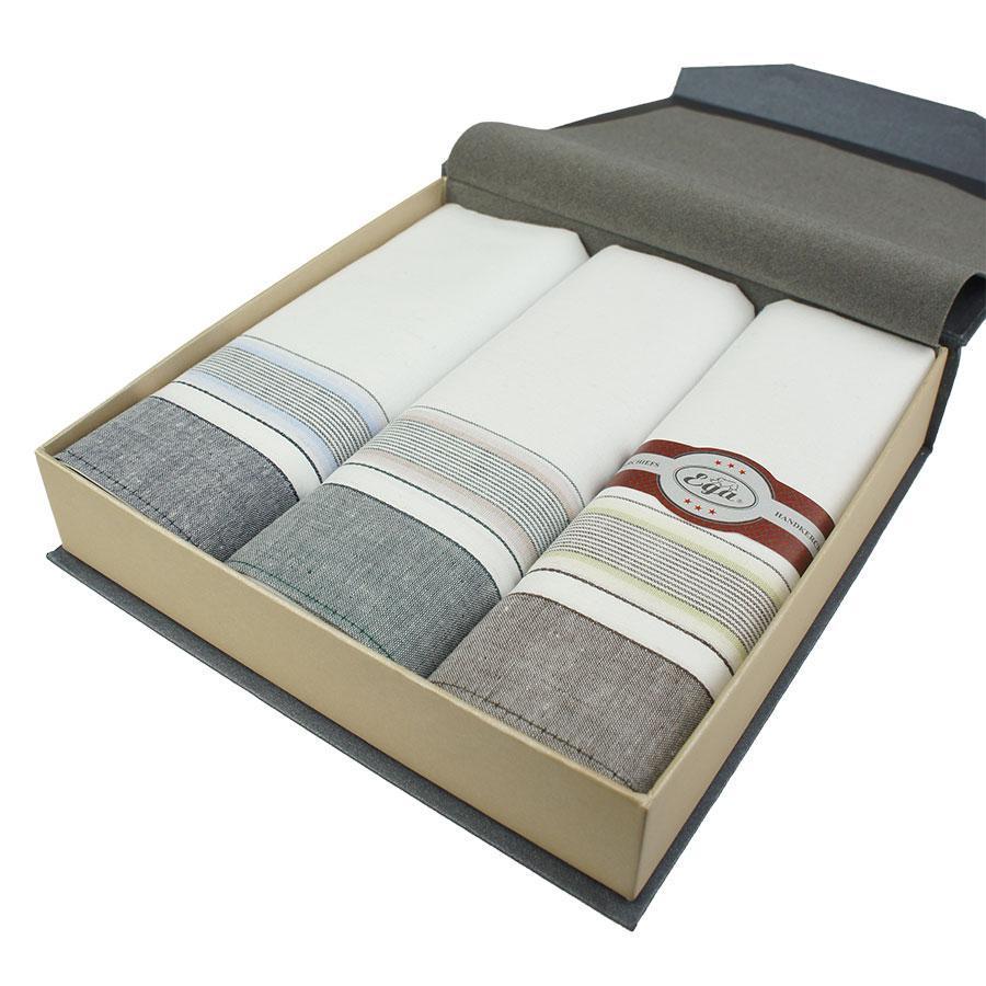 Подарочный набор светлых носовых платков для мужчин EGA 3 шт CH-240/3 С