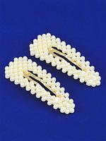Прикраса для волосся з перлами (клік клак срібло трикутна) 7,5 см