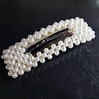 Прикраса для волосся з перлами (клік клак срібло прямокутник) 7 см