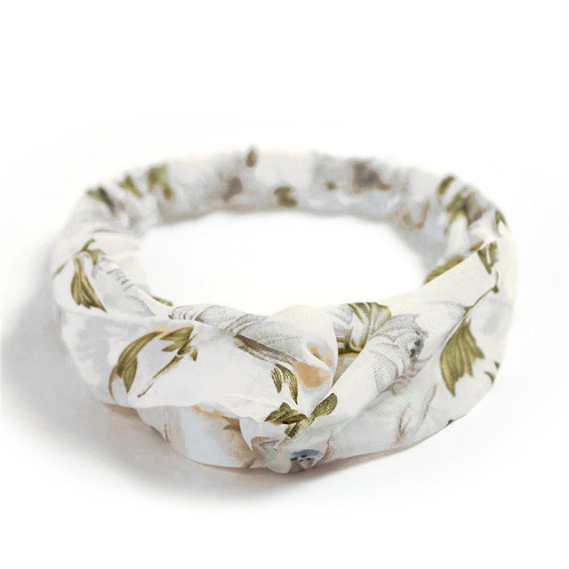 Повязка-лента на голову шифоновая с цветами Белая