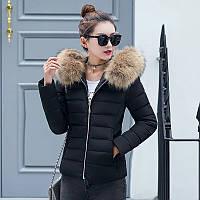 Уценка! Куртка женская демисезонная меховой воротник с капюшоном черная, фото 1