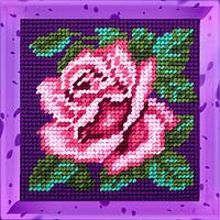 Роза. Набор для вышивания нитками на канве 15х15cм., фото 1