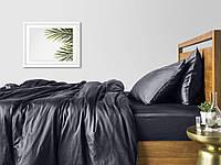 Комплект евро взрослого постельного белья сатин GREY