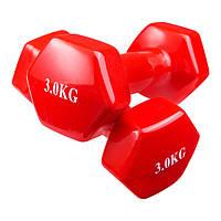 Гантели для фитнеса 3кг, винил, пара. 80040-V3