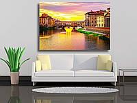 "Картина на холсте ""Мост Понте Веккио через реку Арно на закате во Флоренции, Италия, ретро-тонированное"""