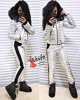 Женский зимний костюм из плащевки Металлик tez200821