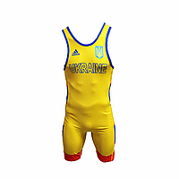 Трико борцовское Adidas UWW Ukraine Yellow/Blue/Red