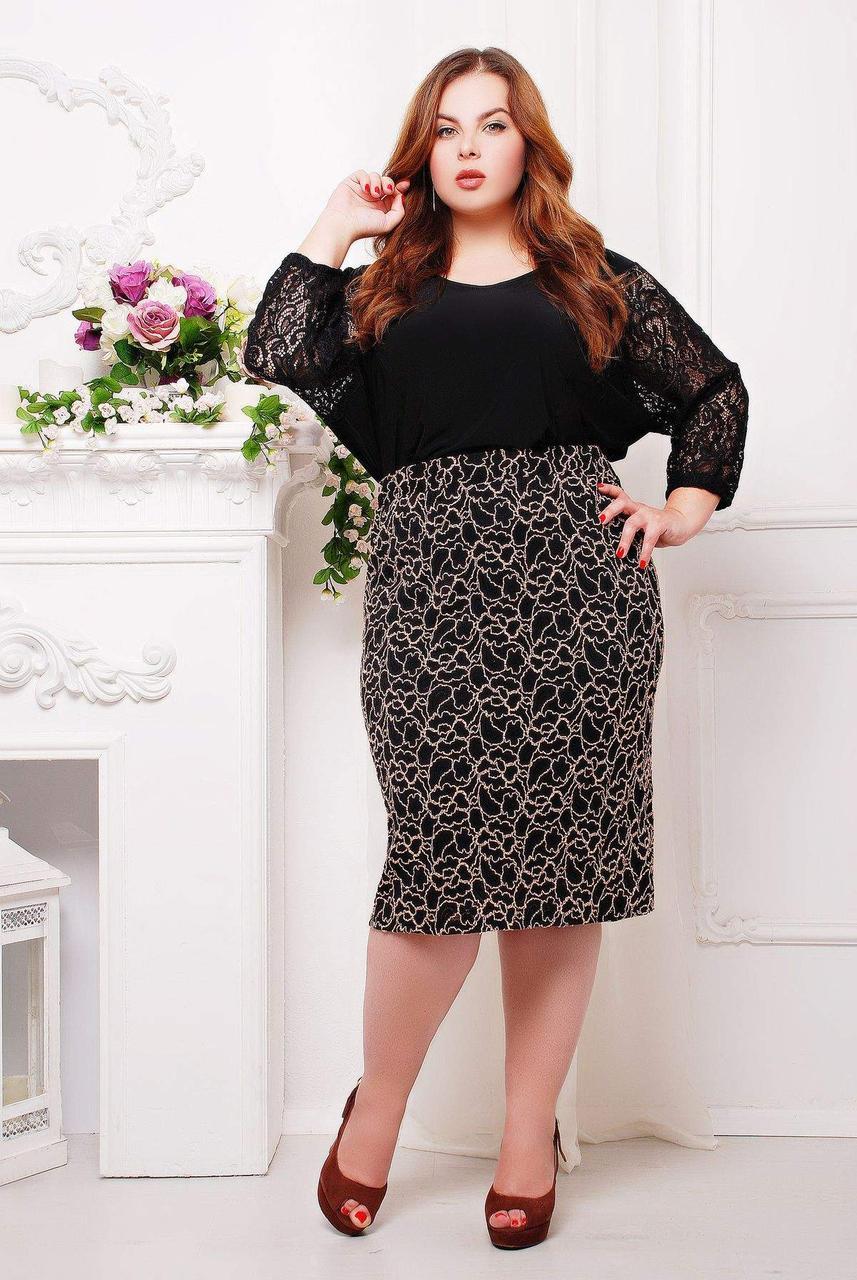 Классическая женская юбка из гипюра с контрастым рисунком с 56 по 62 размер
