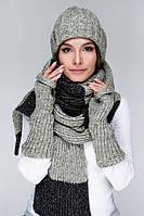 Вязаный длинный шарф  (One Size, черный, зеленый меланж)