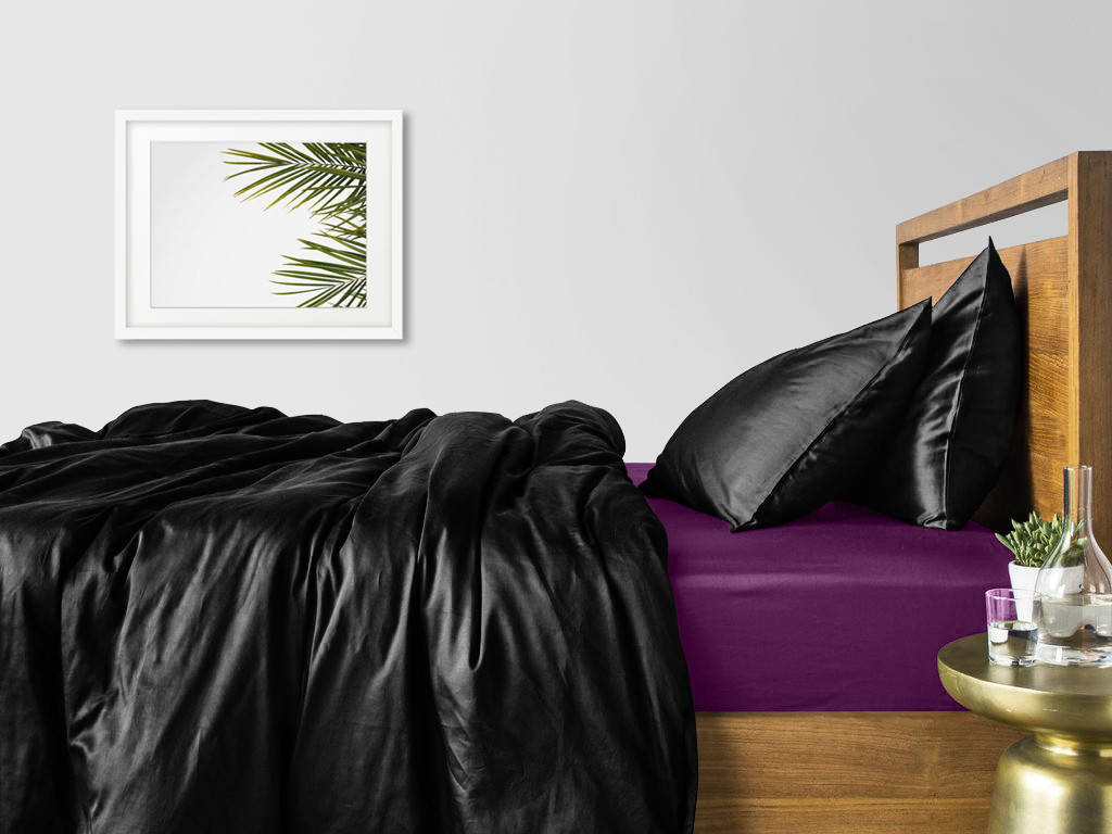 Комплект евро взрослого постельного белья сатин BLACK VIOLET-S