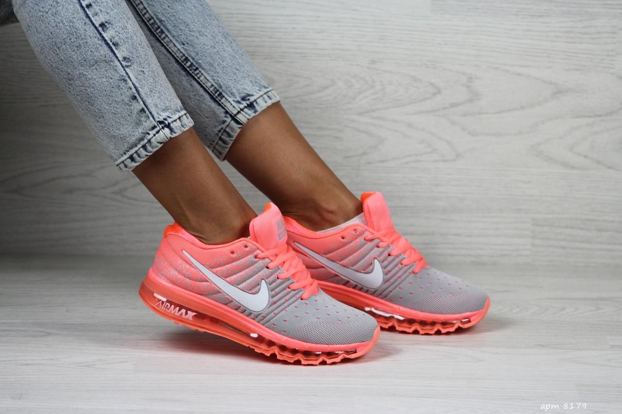 Женские кроссовки Nike Air Max 2017 (розово-серые)