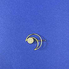 Заколка для волос металлическая золотая в форме Луны