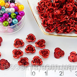 (35-40 шт) Розочки металл d=7мм Серединки,кабошоны Цвет - Красный (сп7нг-2004)