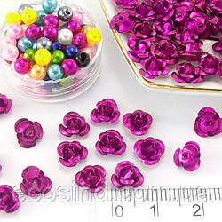 (35-40 шт) Розочки металл d=7мм Серединки,кабошоны Цвет - Малиновый (сп7нг-2007)